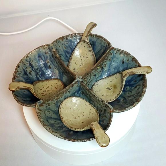 Pottery Vintage Blue & Gray Relish Dish Stoneware